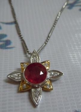 Mặt đá ruby đỏ (vỏ bạc) TS81